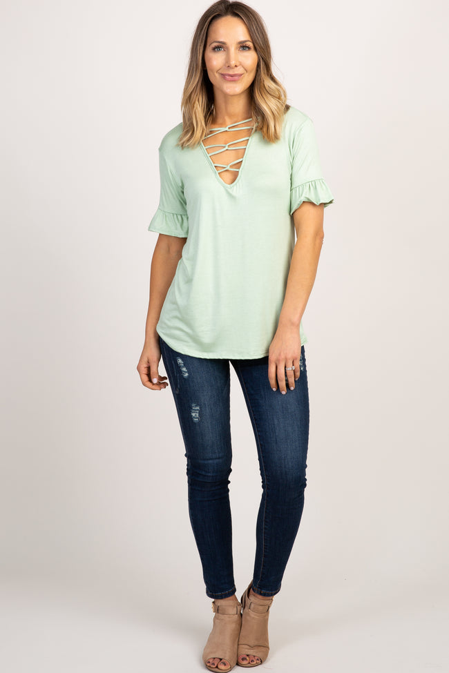 Mint Green Caged Front Ruffle Sleeve Top