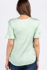 Mint Green Caged Front Ruffle Sleeve Maternity Top