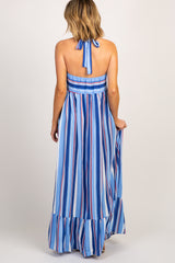 Blue Striped Halter Neck Maxi Dress