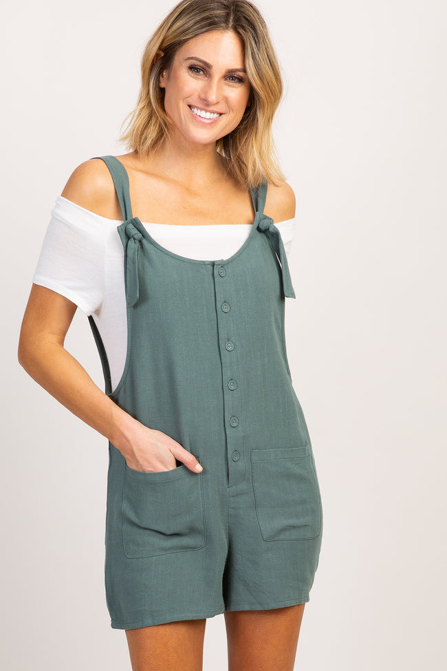 Olive Solid Button Front Romper