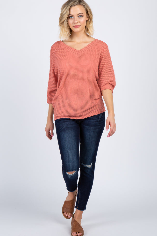 Coral Waffle Knit Dolman Sleeve Top
