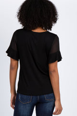 Black Short Chiffon Ruffle Sleeve Top