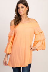 Peach Smocked Off Shoulder Bell Sleeve Top