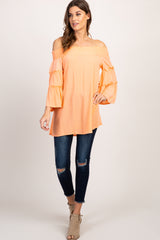 Peach Smocked Off Shoulder Bell Sleeve Maternity Top