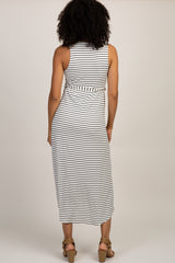Ivory Striped Hi-Low Maternity Wrap Dress