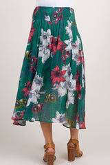Green Floral Smocked Maternity Skirt