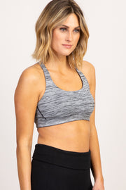 Heather Grey Pinstriped Caged Back Sport Bra