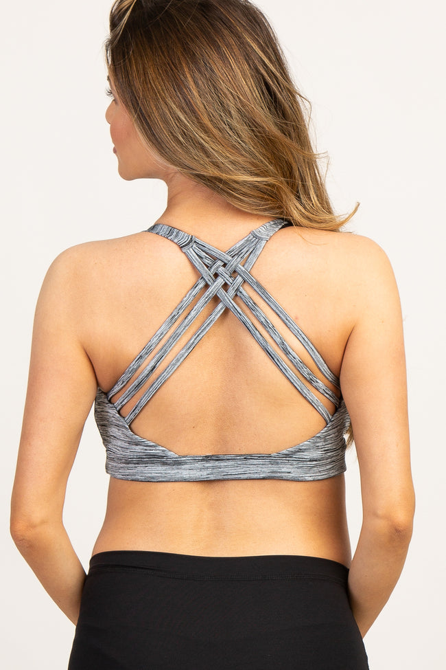 Heather Grey Pinstriped Caged Back Maternity Sport Bra