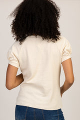 Cream Short Puff Sleeve Top