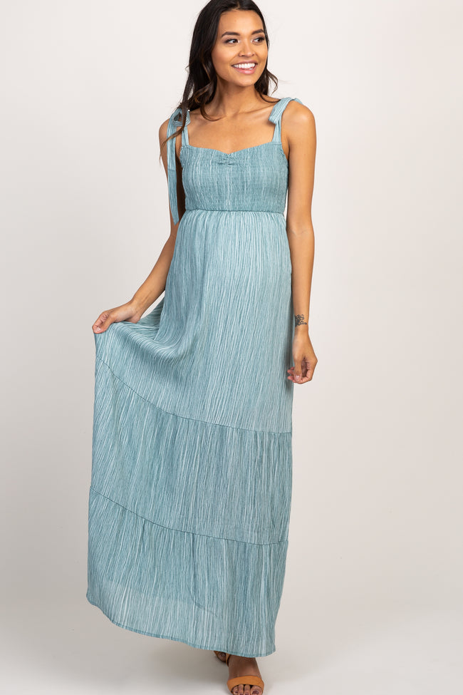Mint Smocked Maternity Maxi Dress