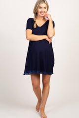 Navy Lace Trim V-Neck Maternity Sleep Dress