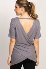 PinkBlush Grey Short Sleeve Back Overlay Maternity Top