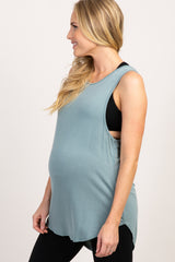 Sage Green Ribbed Cutout Back Sleeveless Maternity Active Top