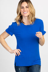 Royal Blue Solid Ruffle Sleeve Maternity Top
