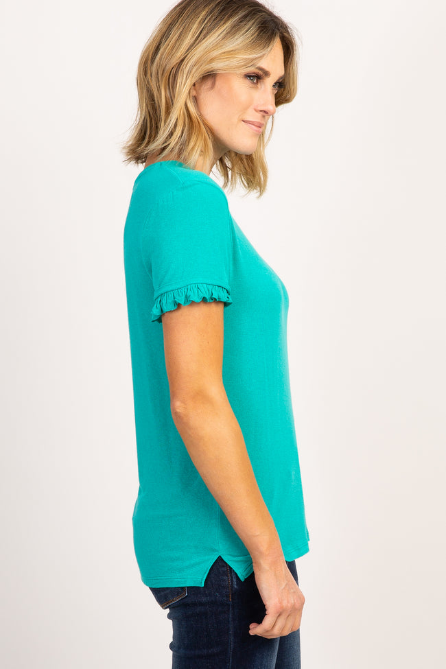 Teal Solid Ruffle Sleeve Top