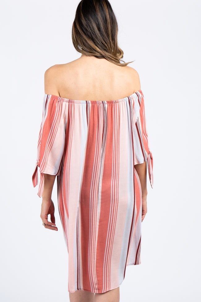 Pink Off Shoulder Tie Sleeve Striped Dress