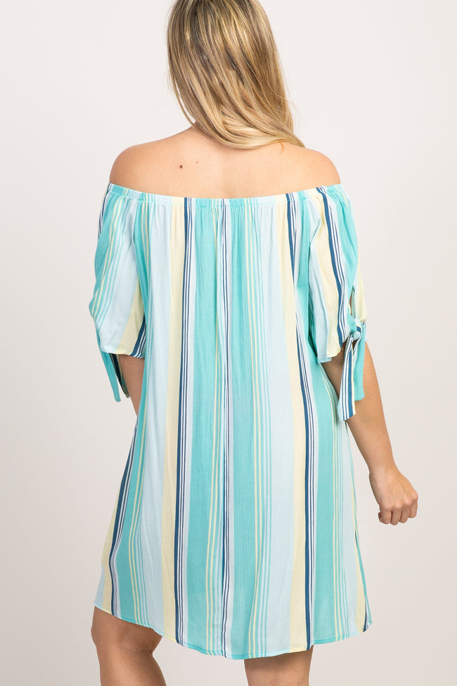 Mint Green Off Shoulder Tie Sleeve Striped Dress