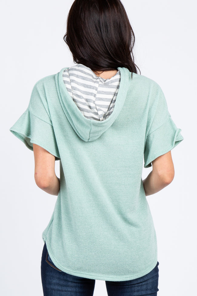 Mint Green Ruffle Short Sleeve Hooded Top