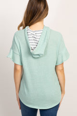 Mint Green Ruffle Short Sleeve Hooded Maternity Top