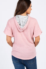 Pink Ruffle Short Sleeve Hooded Maternity Top