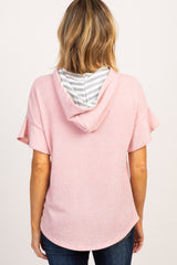 Pink Ruffle Short Sleeve Hooded Top