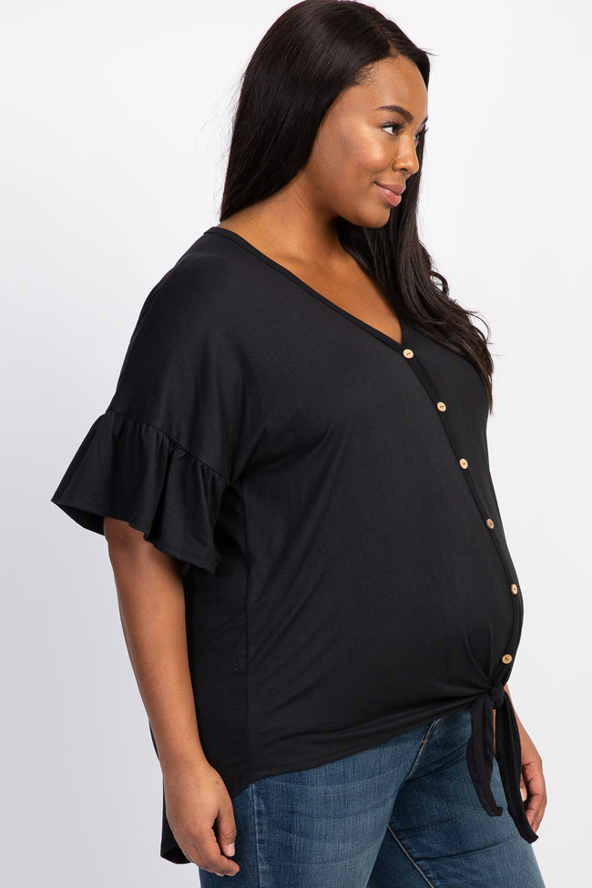 Black Solid Button Tie Front Plus Maternity Top