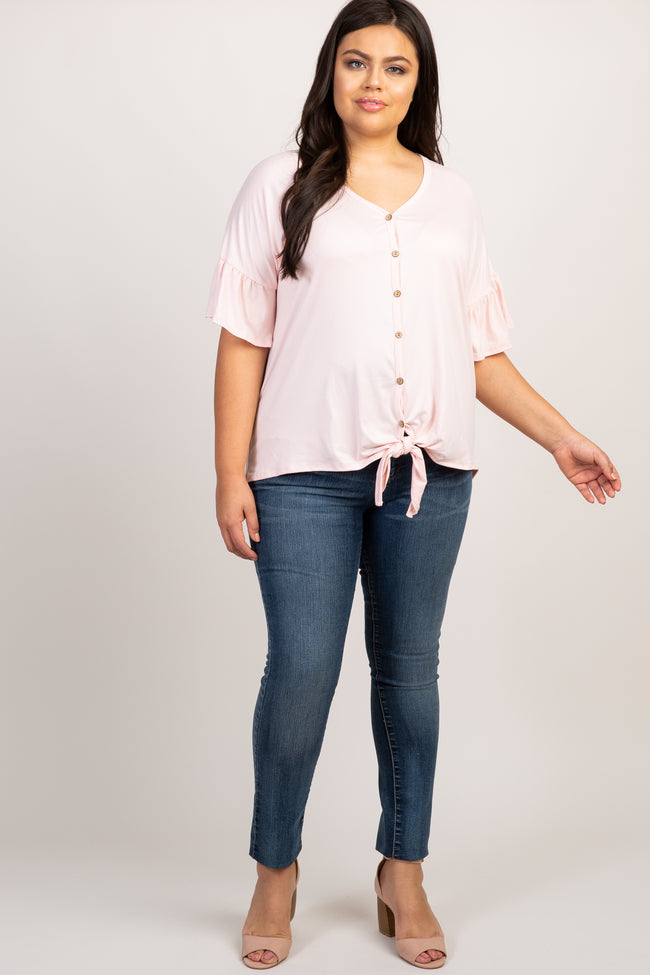 Pink Solid Button Tie Front Plus Top