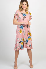 Mauve Floral Sash Tie Flounce Trim Maternity Dress
