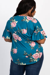 Teal Peony Floral Button Tie Front Plus Maternity Top