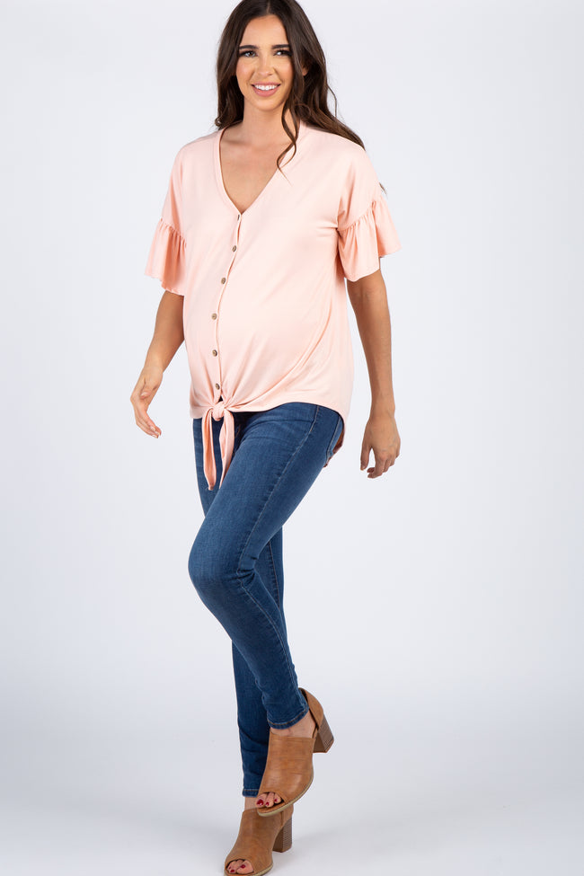 Peach Solid Button Tie Front Maternity Top