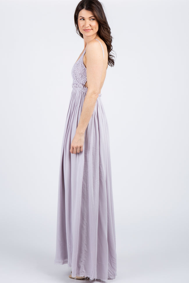 Lavender Lace Top Pleated Waist Backless Maxi Dress
