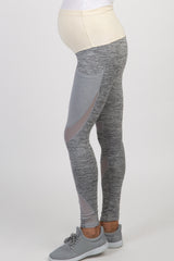 Grey Mesh Panel Maternity Leggings