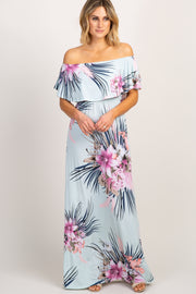 Mint Green Floral Ruffle Off Shoulder Maxi Dress