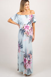 Mint Green Floral Ruffle Off Shoulder Maternity Maxi Dress