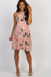Peach Floral Halter Neck Maternity Dress
