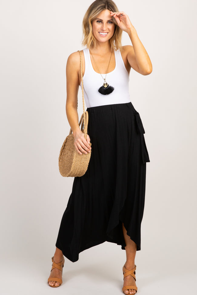 Black Knotted Maternity Wrap Midi Skirt