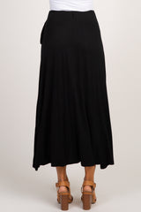 Black Knotted Wrap Midi Skirt