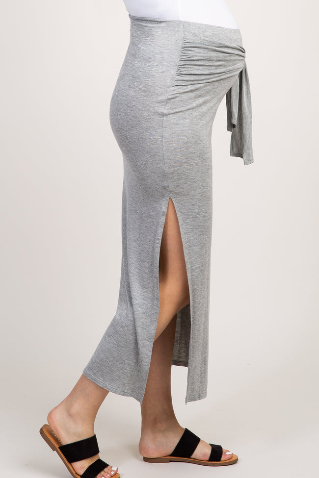 Heather Grey Knotted Side Slit Maternity Maxi Skirt