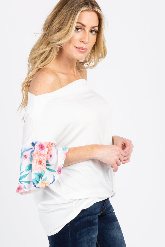 White Off Shoulder Floral Sleeve Knotted Hem Top