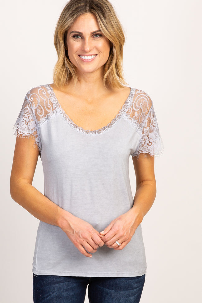 Grey Lace Sleeve Maternity Top