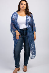 Blue Embroidered Crochet Mesh Plus Kimono