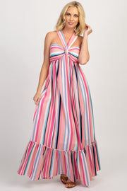 Pink Multi Color Stripe Halter Neck Maxi Dress