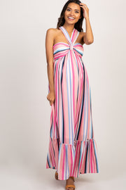 Pink Multi Color Stripe Halter Neck Maternity Maxi Dress