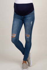 Blue Medium Wash Slightly Distressed Tall Maternity Jeans