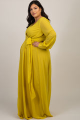 Yellow Chiffon Long Sleeve Plus Maxi Dress
