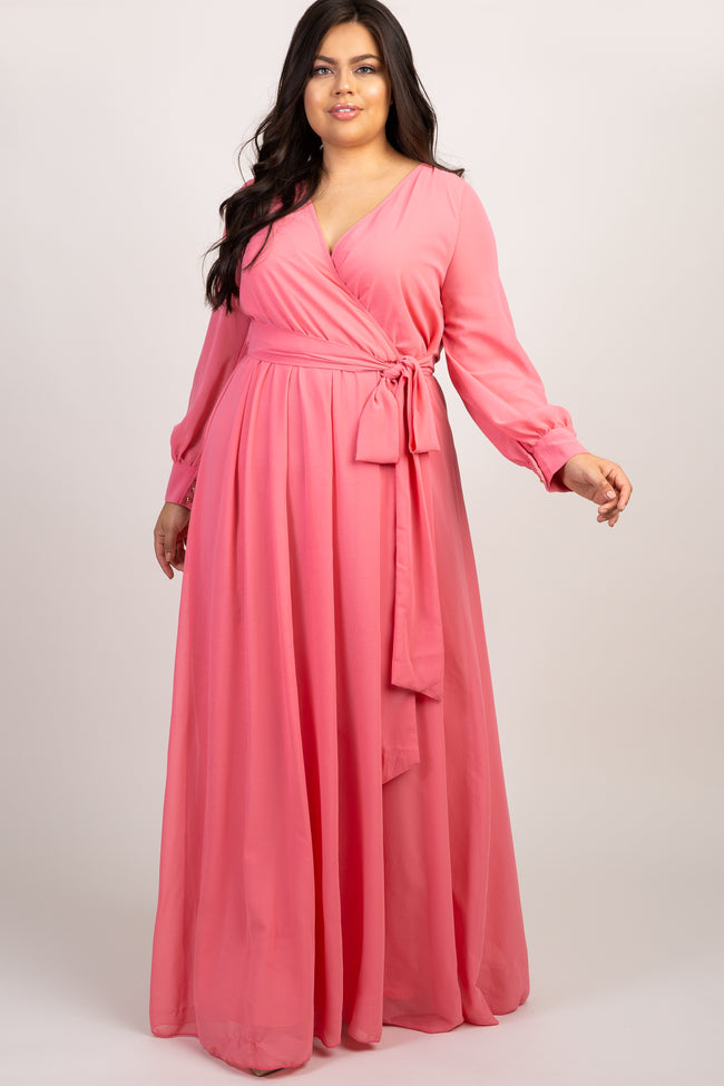 Coral Chiffon Long Sleeve Pleated Plus Maternity Maxi Dress