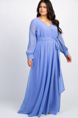 Periwinkle Chiffon Long Sleeve Pleated Plus Maxi Dress