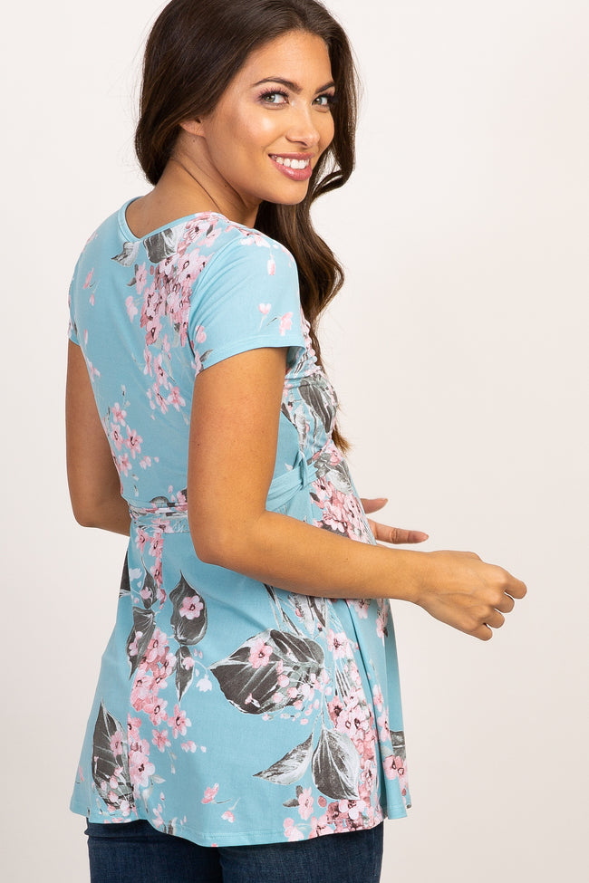 Blue Floral Wrap Maternity Top