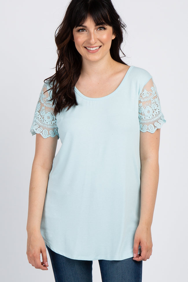 Light Blue Lace Sleeve Maternity Top
