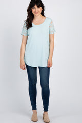 Light Blue Lace Sleeve Top